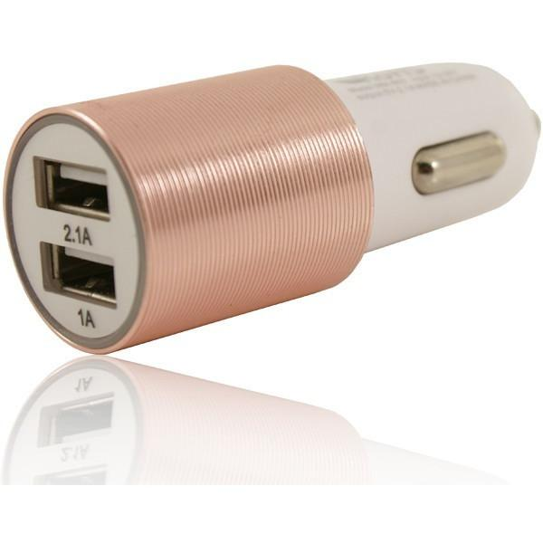 2 USB 12V In Car Charger 5V 2.1A - Rose Gold - For LG Devices