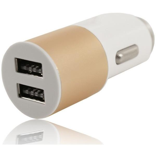 2 USB 12V Round In Car Charger 5V 2.1A - Gold - For Sony Devices