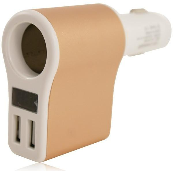 2 USB 12V In Car Charger 5V 2.1A - Gold White - For HTC Devices