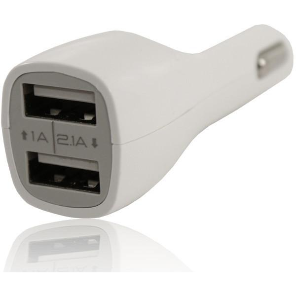 2 USB 12V In Car Charger 5V 2.1A - White - For HTC Devices