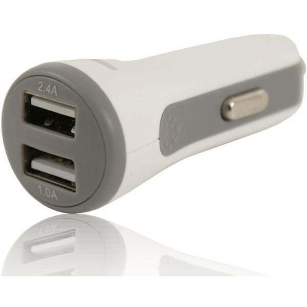 2 USB 12V Round In Car Charger 5V 2.1A - White - For Microsoft Devices