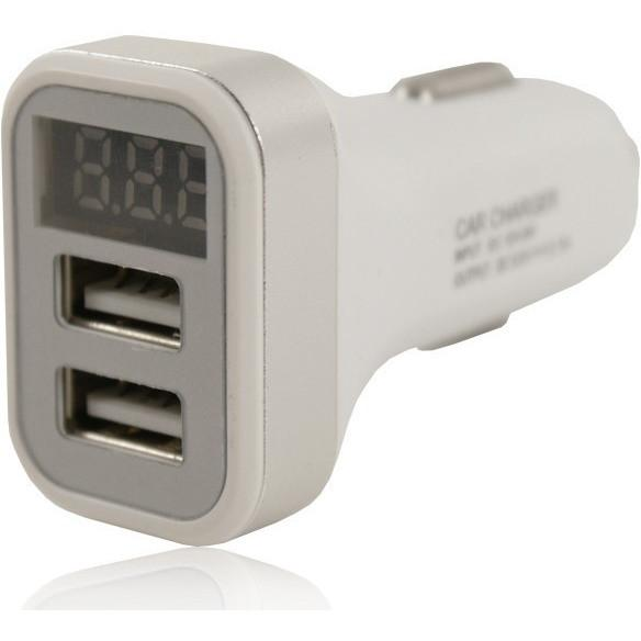 2 USB 12V LED In Car Charger 5V 2.1A - White - For Apple Devices