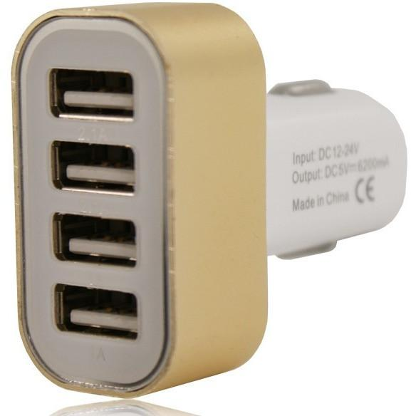 12V 4 USB In Car Charger 5V 2.1A - Gold - For Apple Devices