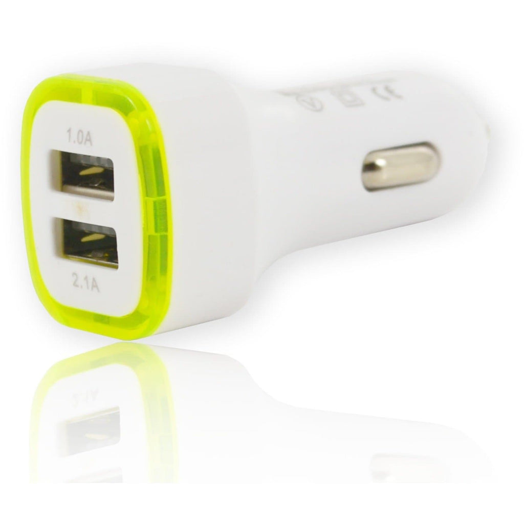 2 USB LED In Car Charger 5V 2.1A - White Green - For Apple Devices