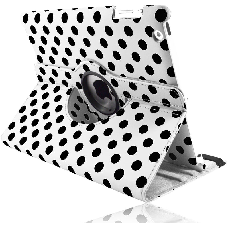 Apple iPad 2 / 3 / 4 - Polka Dot Pu Leather Book Flip Stand Case - White
