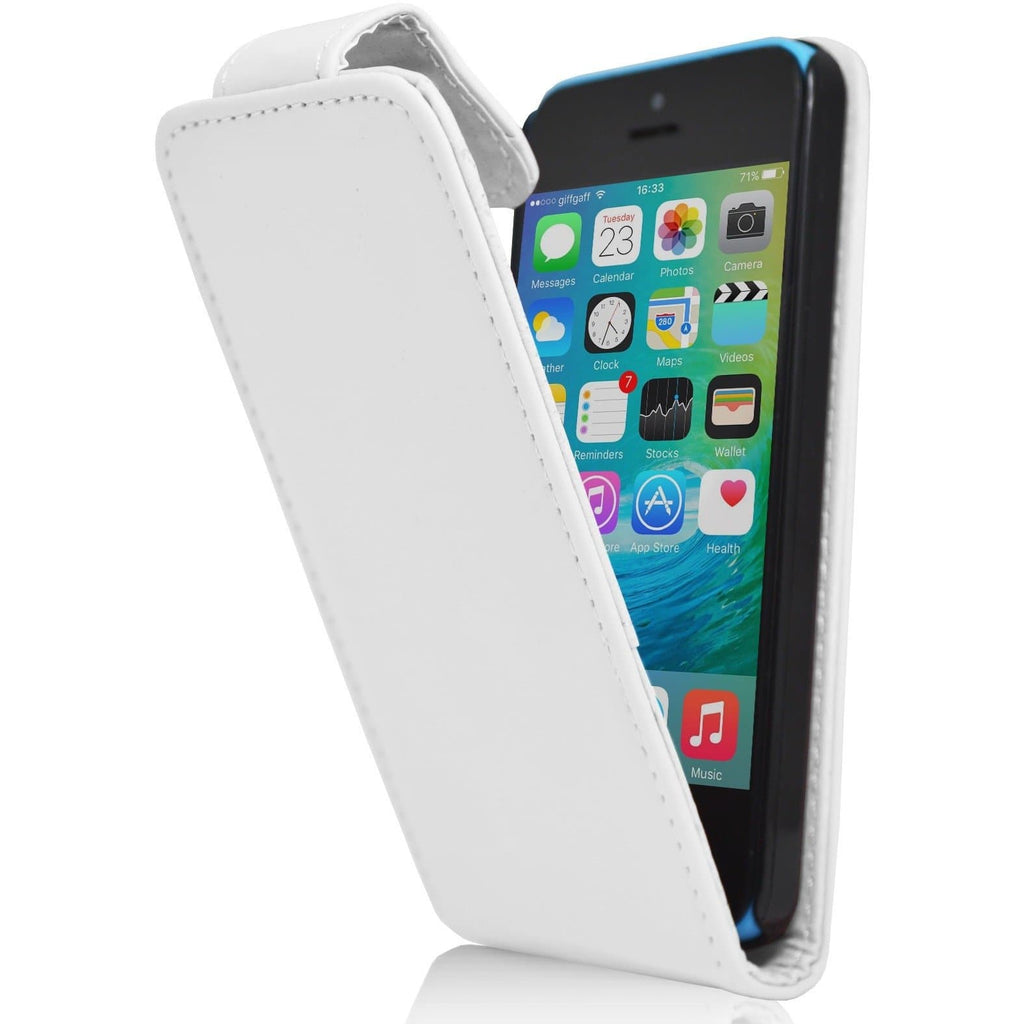 iPhone 5C - Luxury Ultra Slim Magnetic Leather Flip Case Stand - White