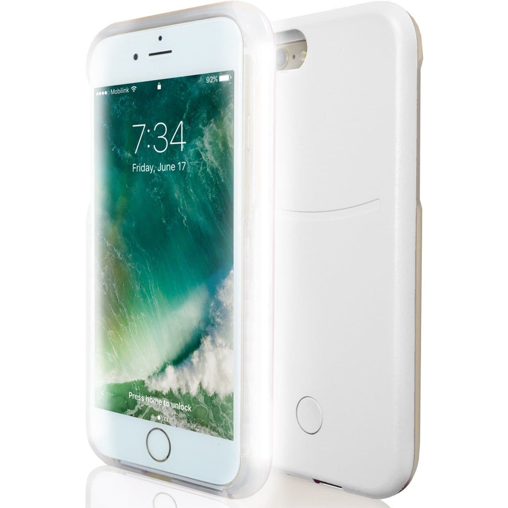 Apple iPhone 6 / 6S Plus Luxury LED Selfie Light Up Case - White