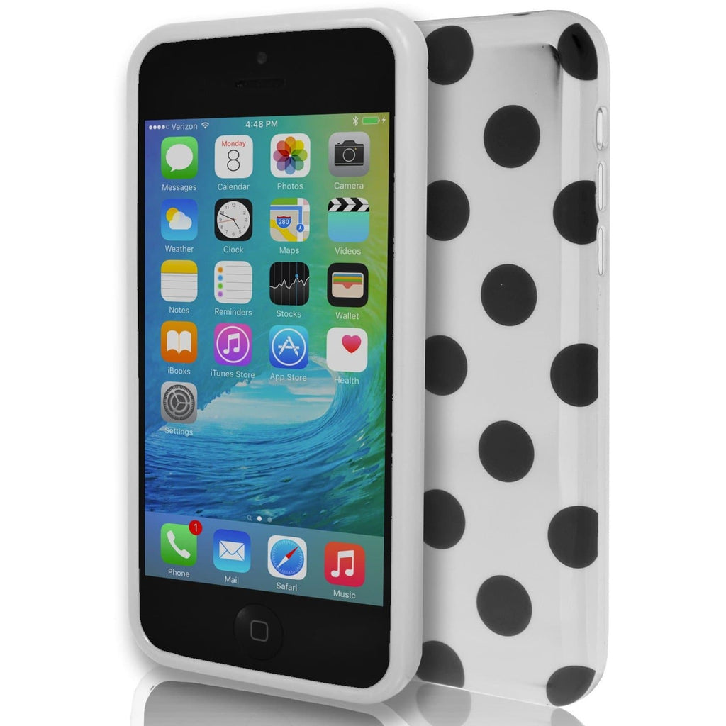 iPhone 5 / 5S / SE - Monochrome Polka Dot Soft Gel Silicone Case Cover - White and Black