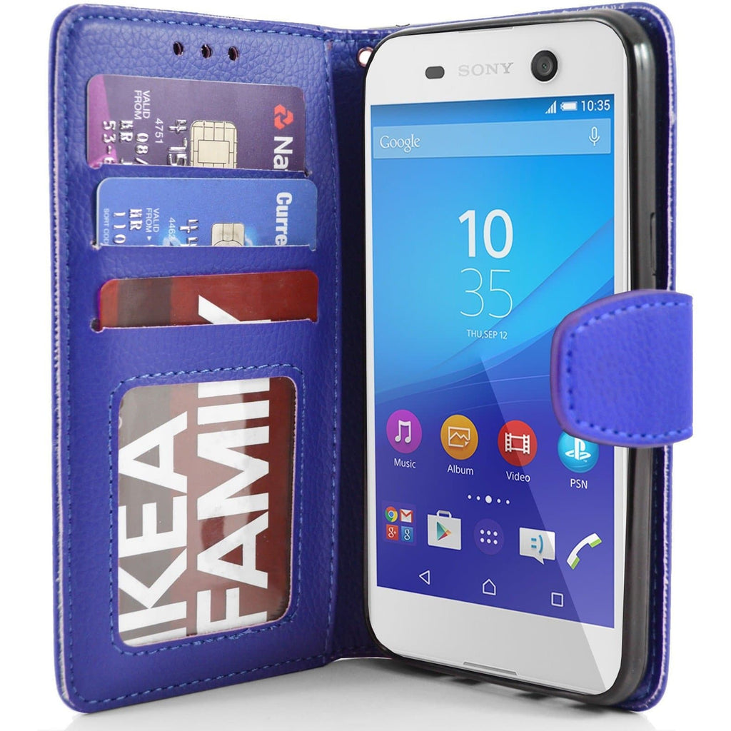 Sony Xperia M5 PU Leather Wallet Case - Blue