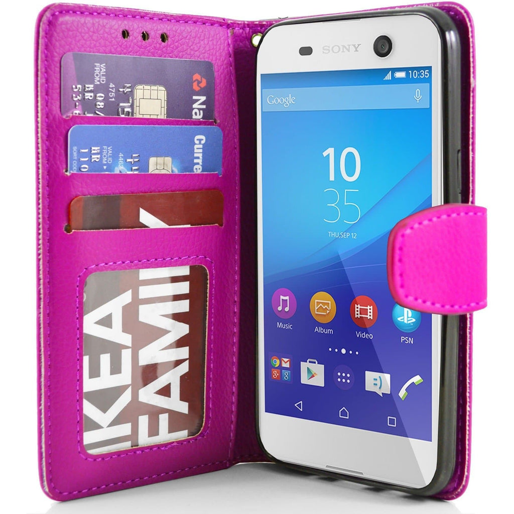 Sony Xperia M5 PU Leather Wallet Case - Pink