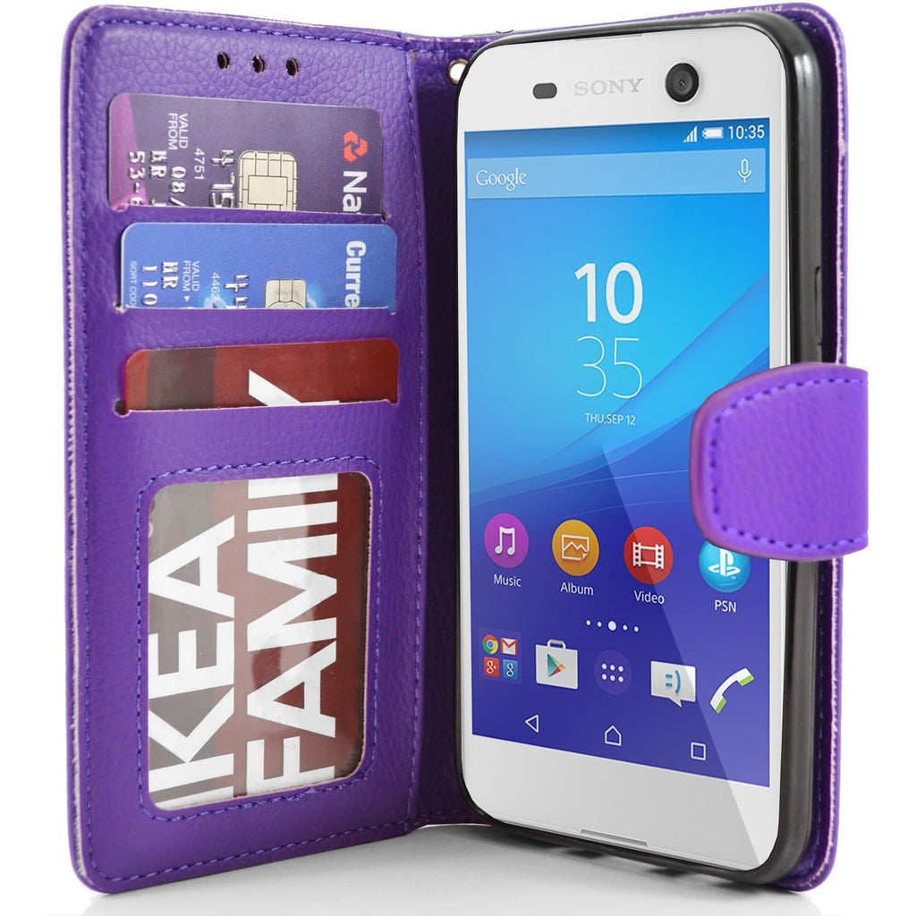 Sony Xperia M5 PU Leather Wallet Case - Purple