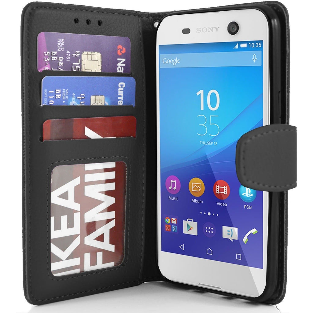 Sony Xperia M5 PU Leather Wallet Case - Black