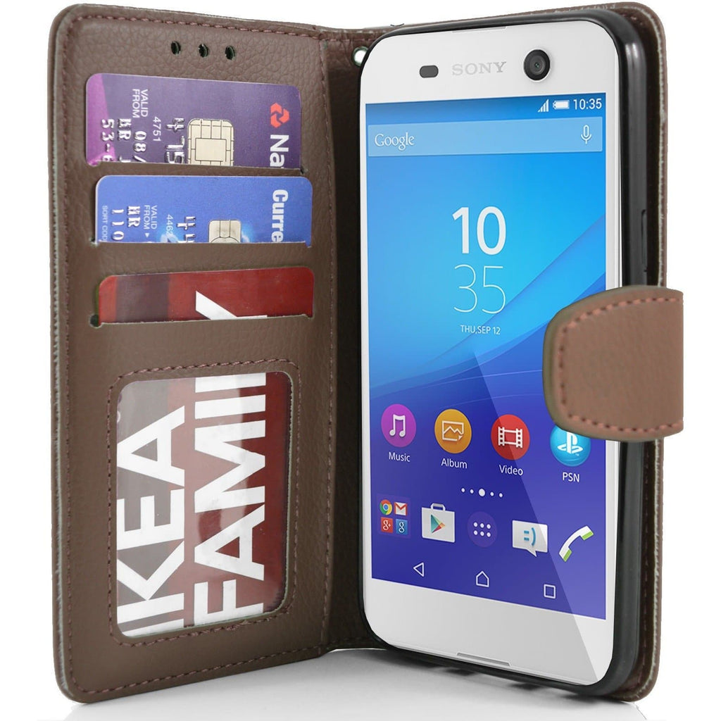 Sony Xperia M5 PU Leather Wallet Case - Brown