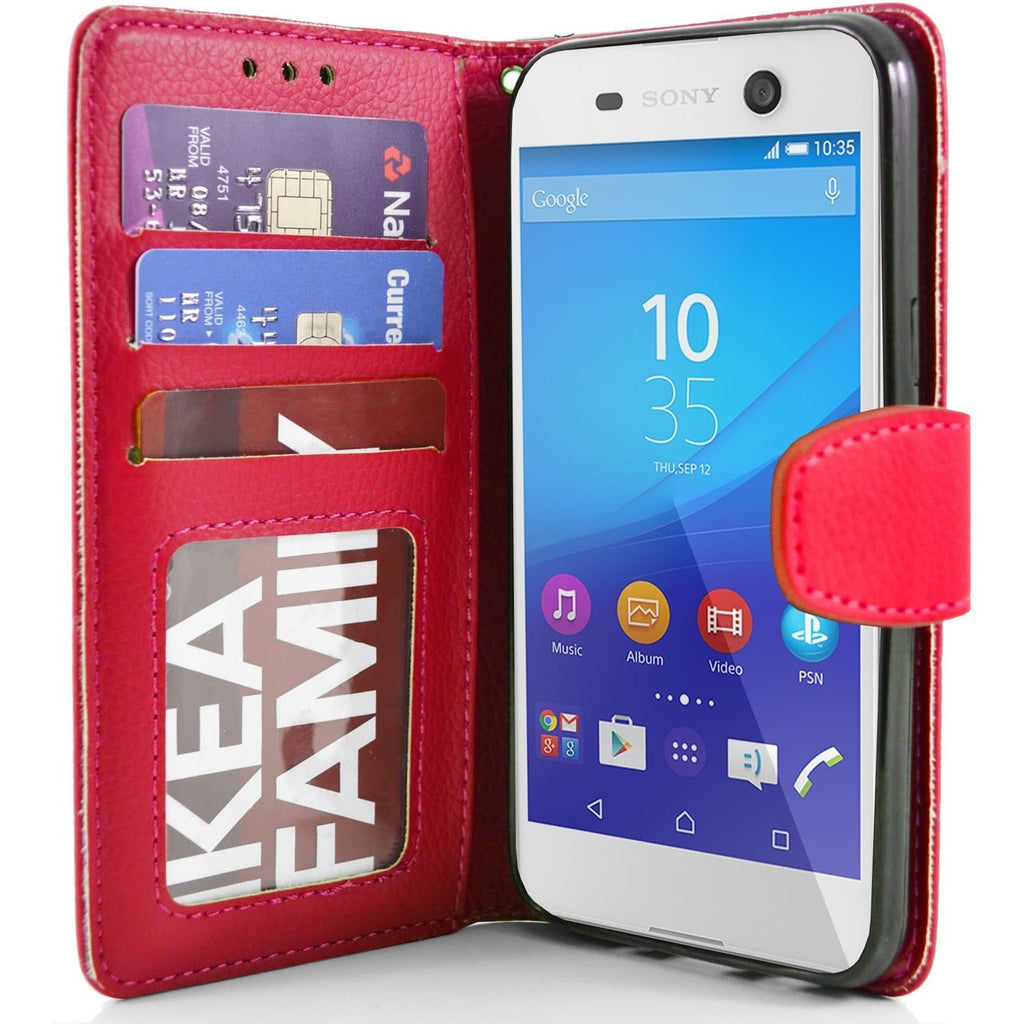 Sony Xperia M5 PU Leather Wallet Case - Red