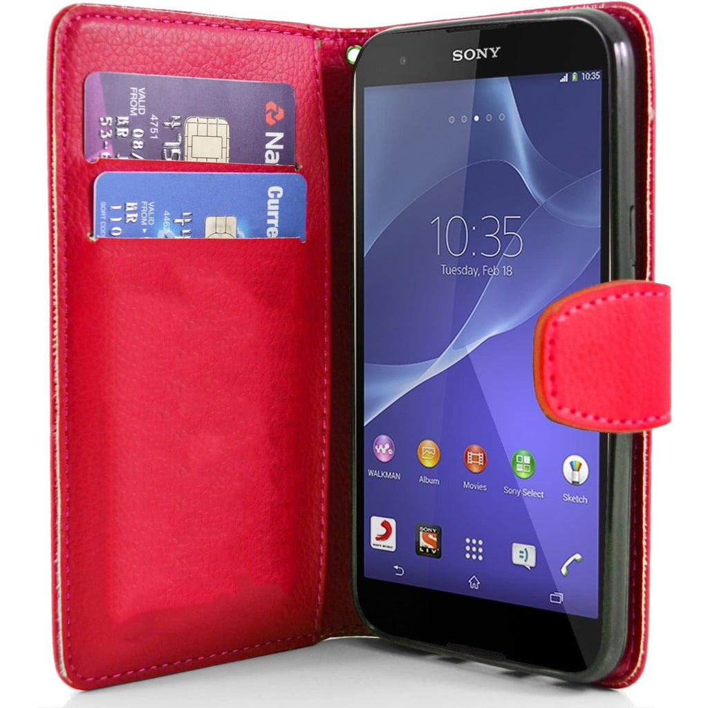 Sony Xperia T2 PU Leather Wallet Case - Red