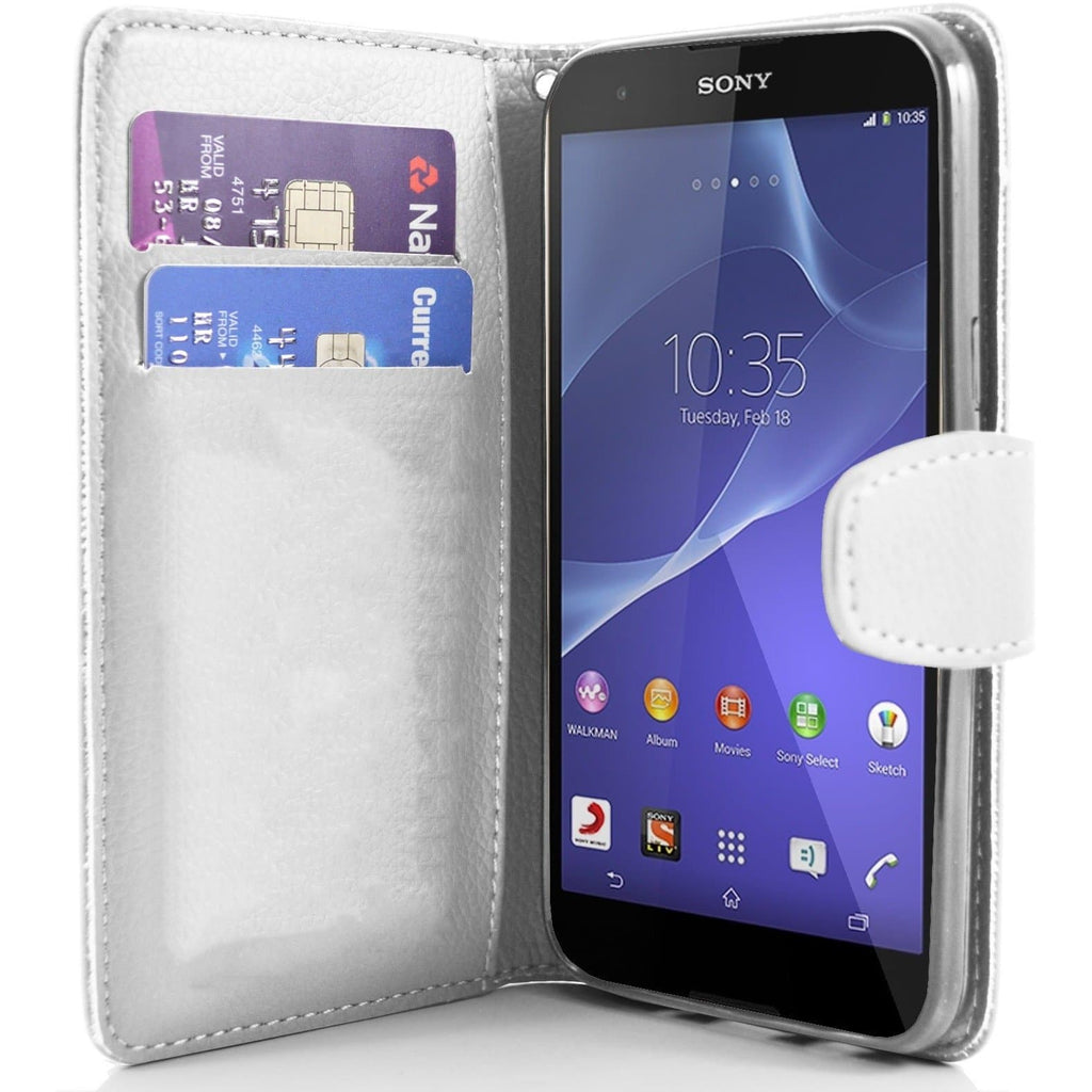 Sony Xperia T2 PU Leather Wallet Case - White
