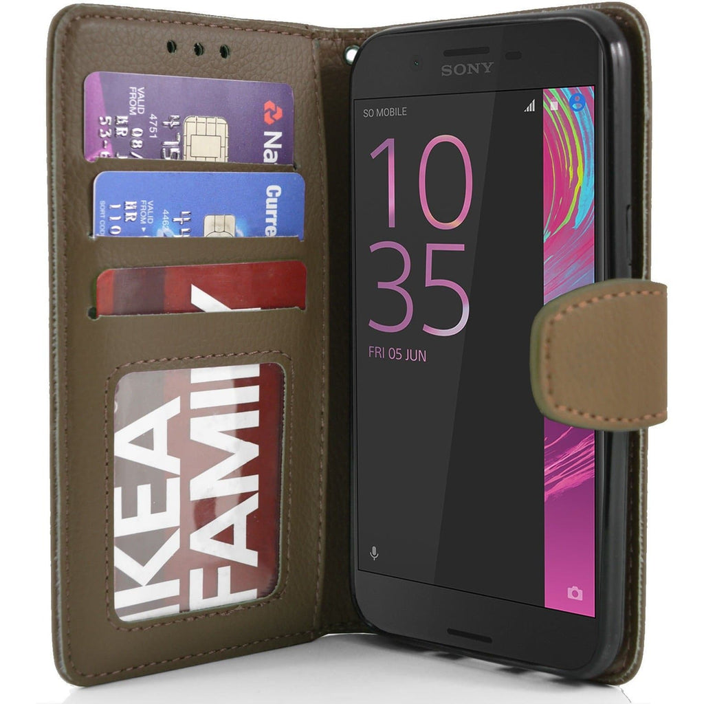 Sony Xperia X Performance PU Leather Wallet Case - Brown
