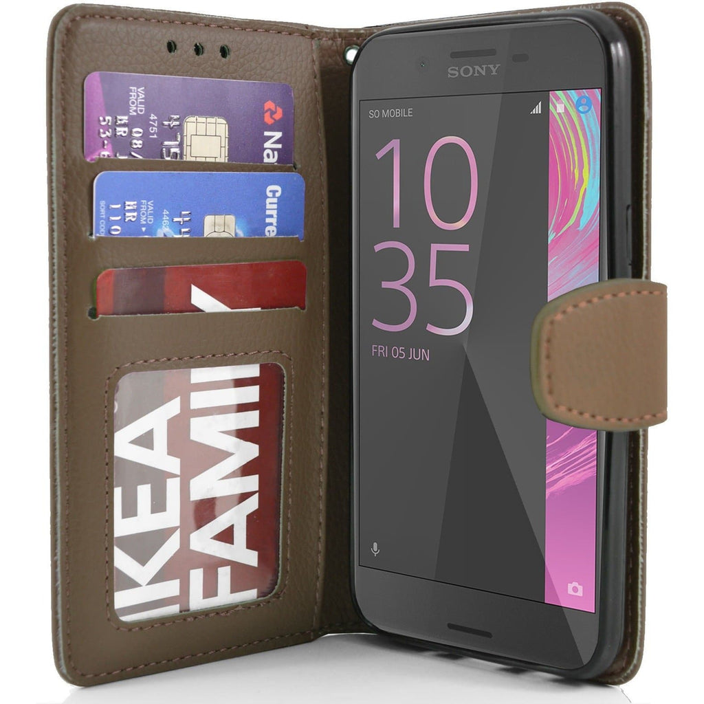 Sony Xperia X PU Leather Wallet Case - Brown