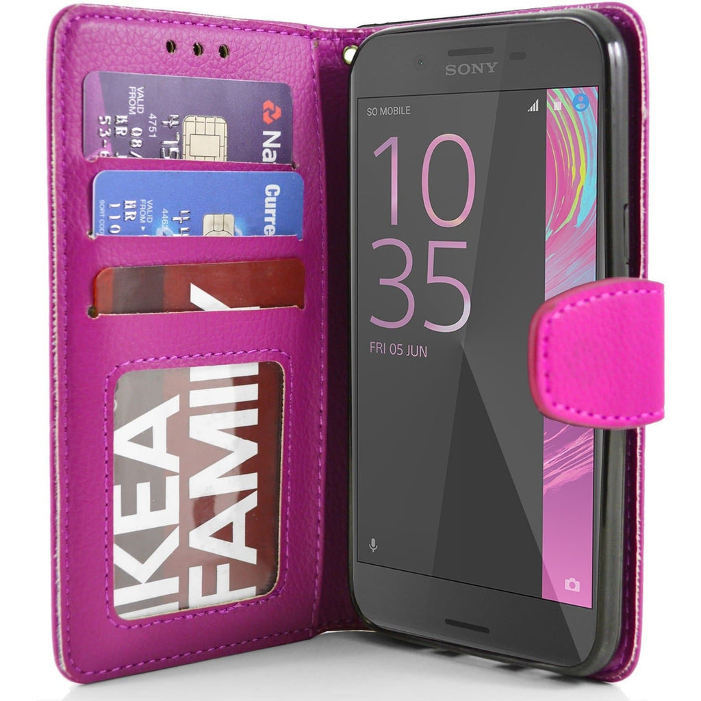 Sony Xperia X PU Leather Wallet Case - Pink