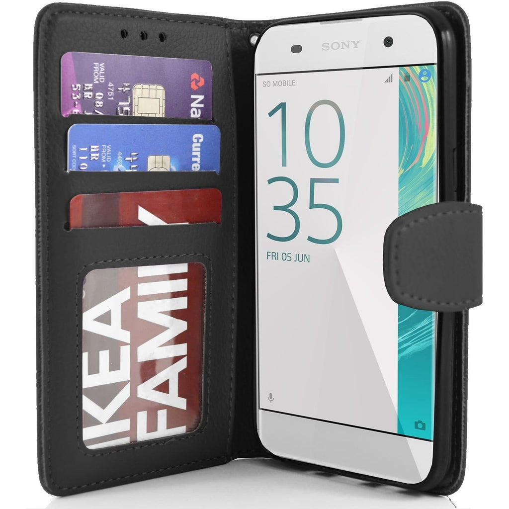 Sony Xperia XA PU Leather Wallet Case - Black