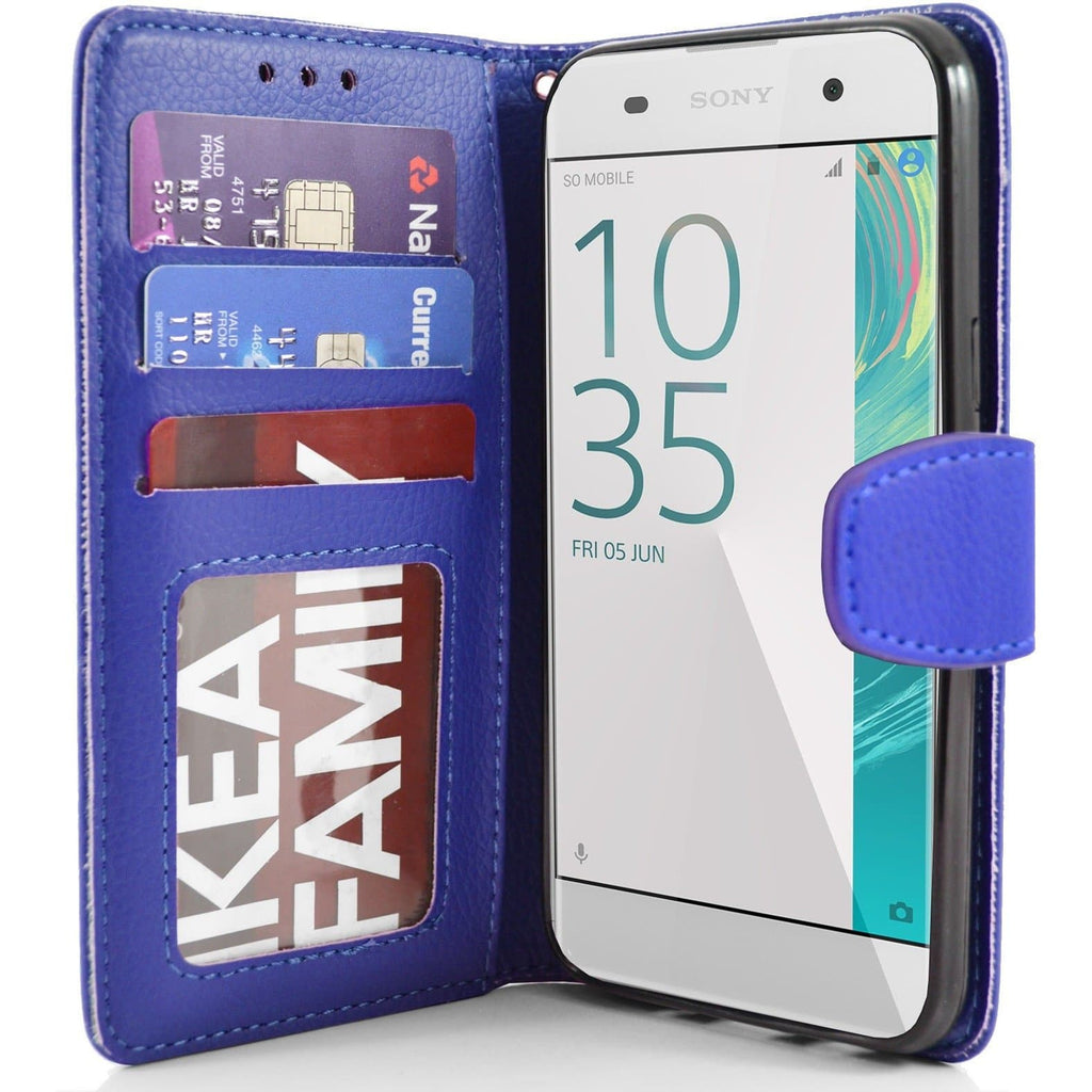 Sony Xperia XA PU Leather Wallet Case - Blue