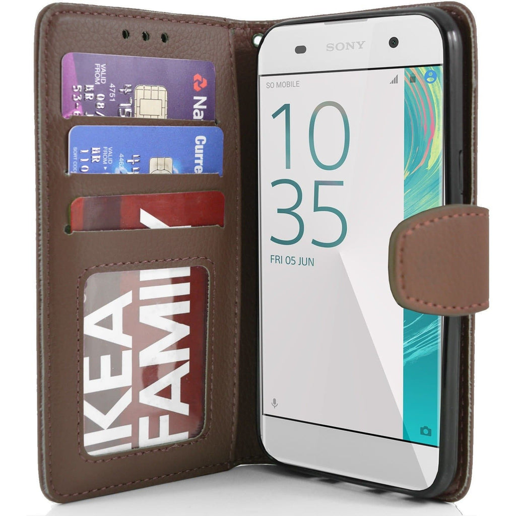Sony Xperia XA PU Leather Wallet Case - Brown