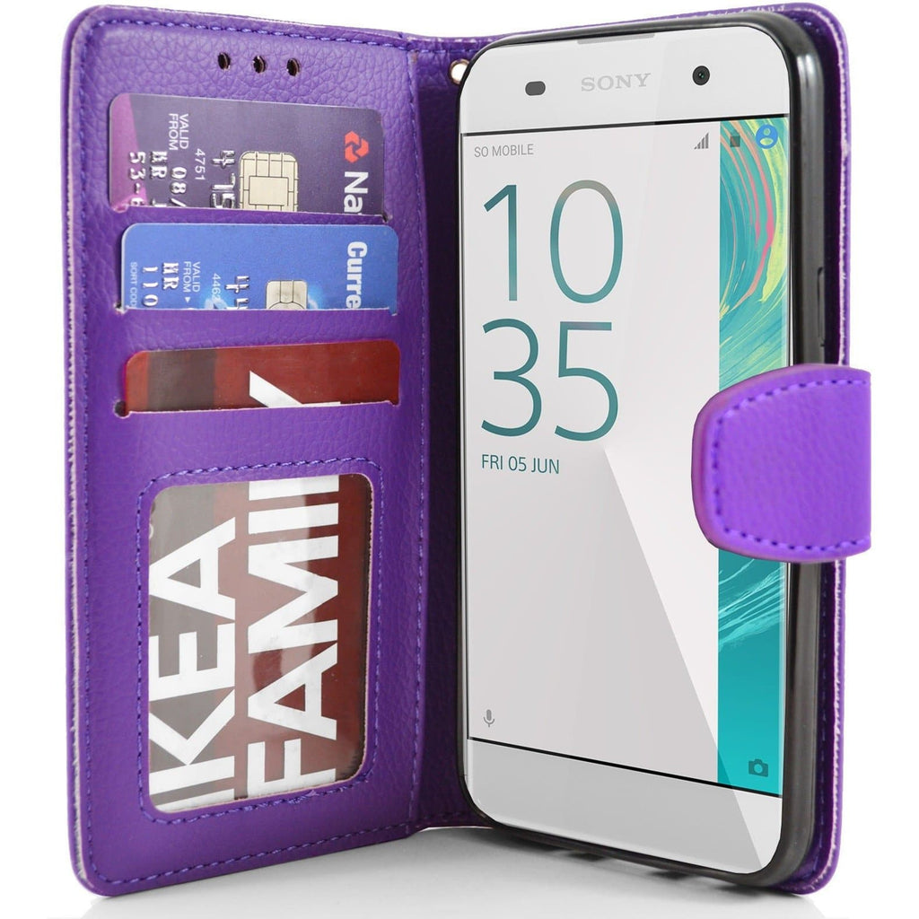 Sony Xperia XA PU Leather Wallet Case - Purple