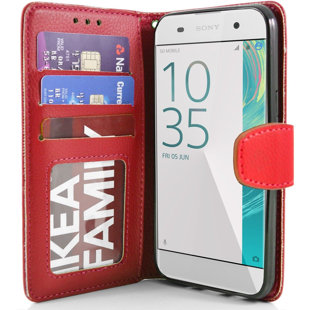 Sony Xperia XA PU Leather Wallet Case - Red