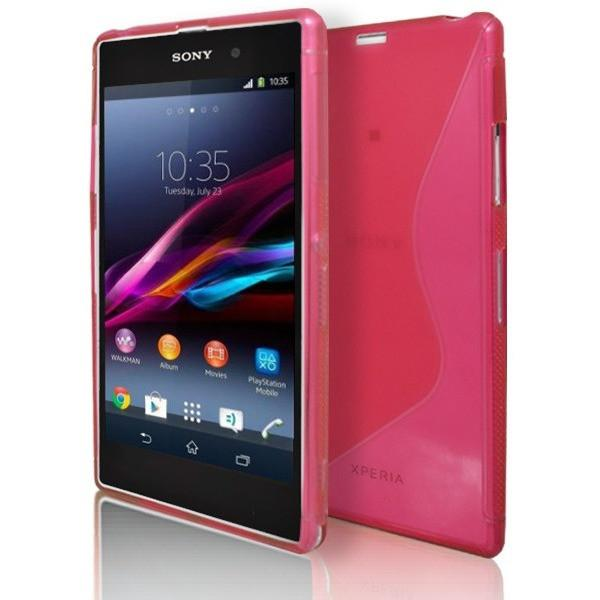 Sony Xperia Z1 - Pink S Line Gel Silicone Rubber Case Cover