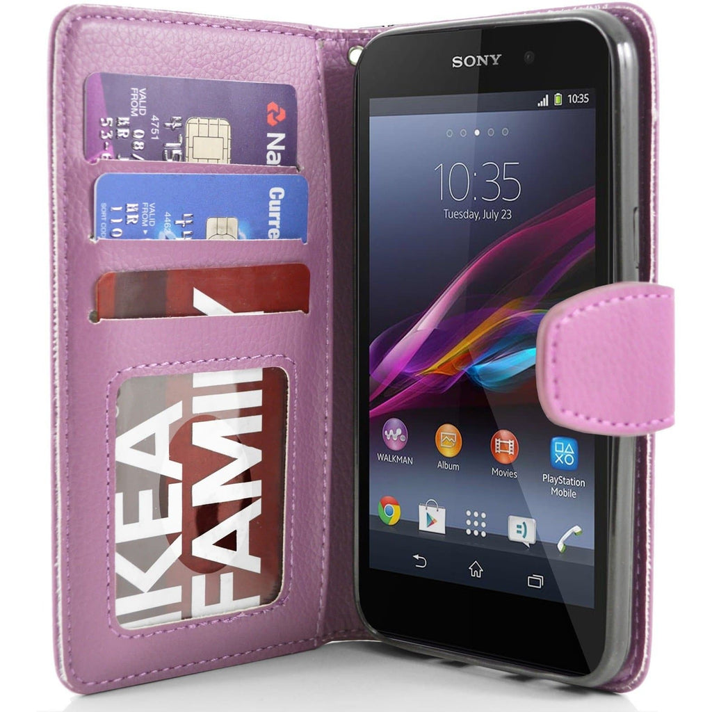 Sony Xperia Z1 PU Leather Wallet Case - Baby Pink