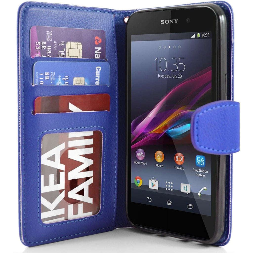 Sony Xperia Z1 PU Leather Wallet Case - Blue