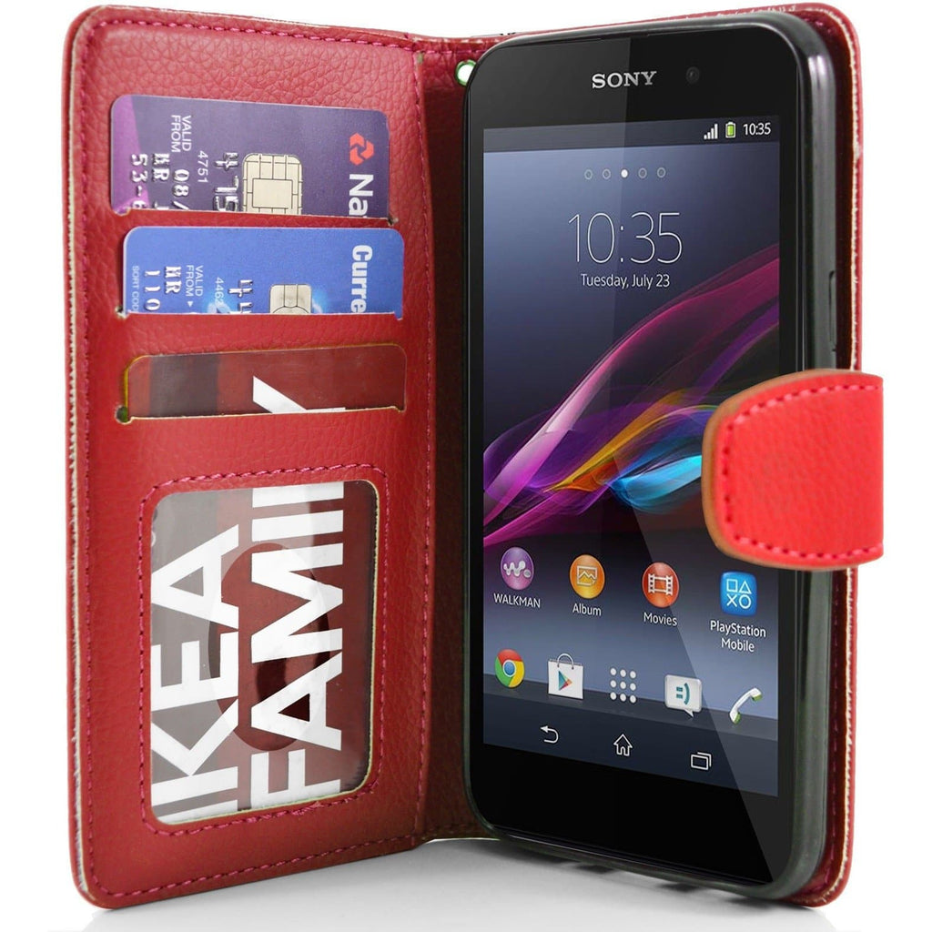 Sony Xperia Z1 PU Leather Wallet Case - Red