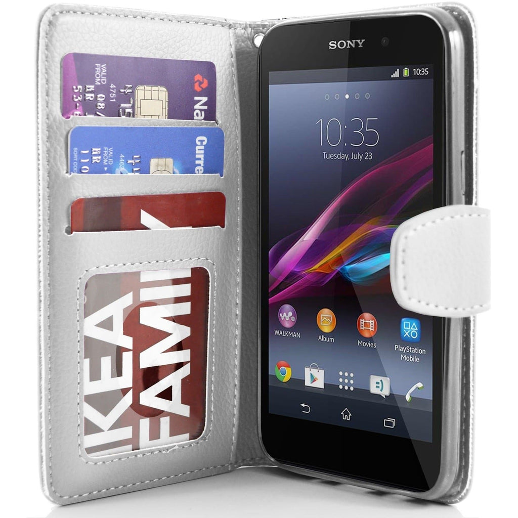 Sony Xperia Z1 PU Leather Wallet Case - White