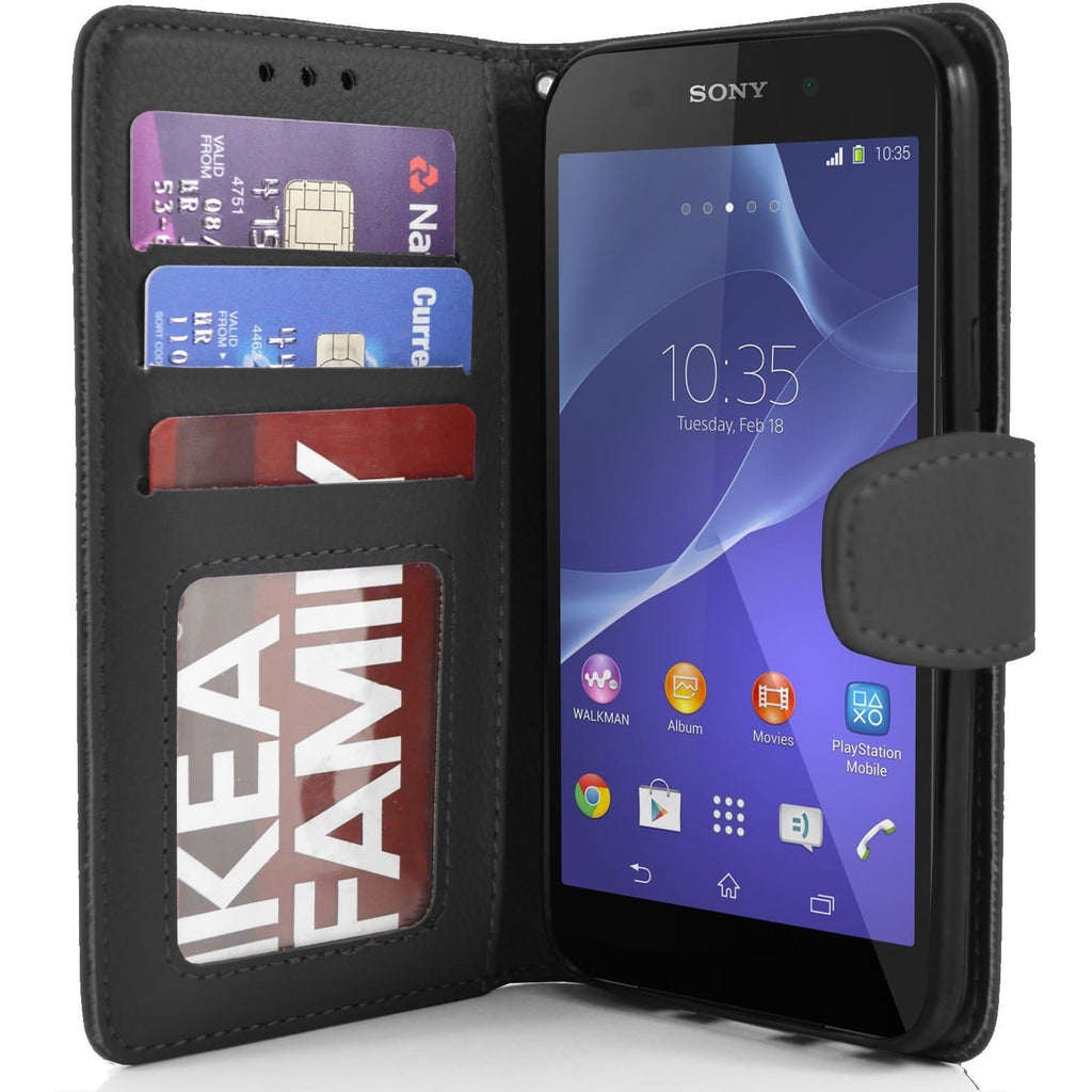 Sony Xperia Z2 PU Leather Wallet Case - Black