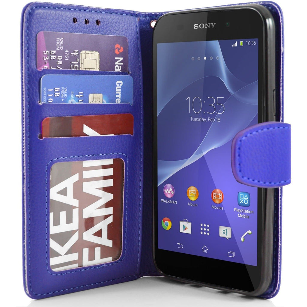 Sony Xperia Z2 PU Leather Wallet Case - Blue