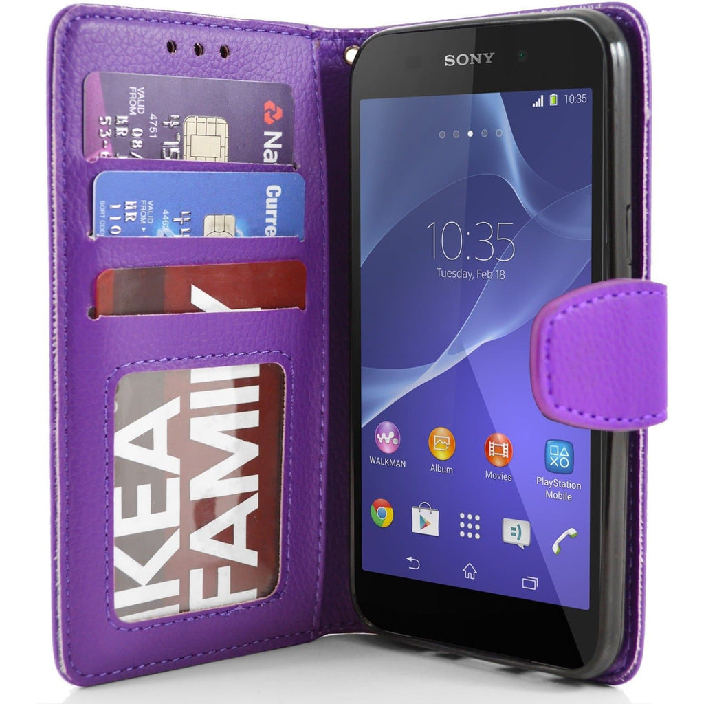 Sony Xperia Z2 PU Leather Wallet Case - Purple