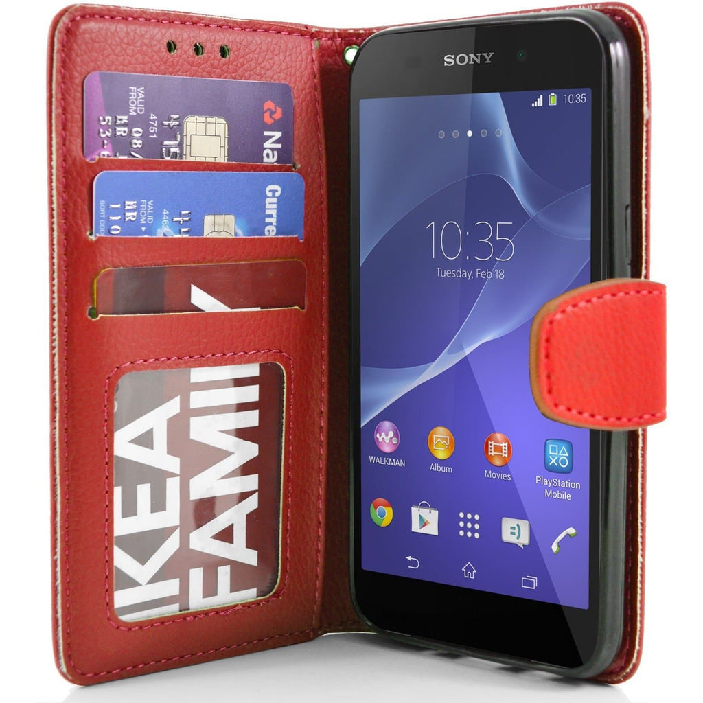 Sony Xperia Z2 PU Leather Wallet Case - Red
