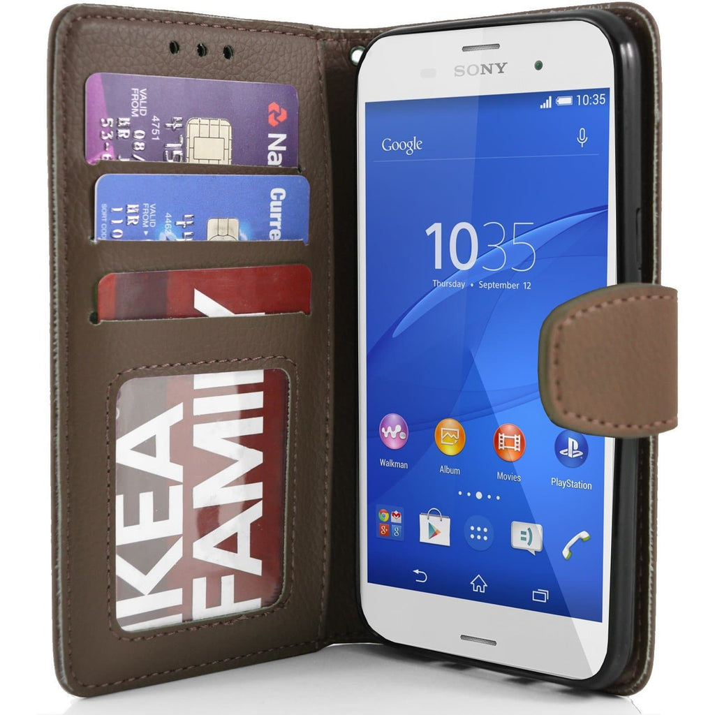 Sony Xperia Z3 PU Leather Wallet Case - Brown