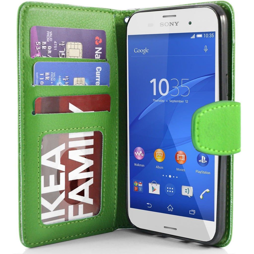 Sony Xperia Z3 PU Leather Wallet Case - Green