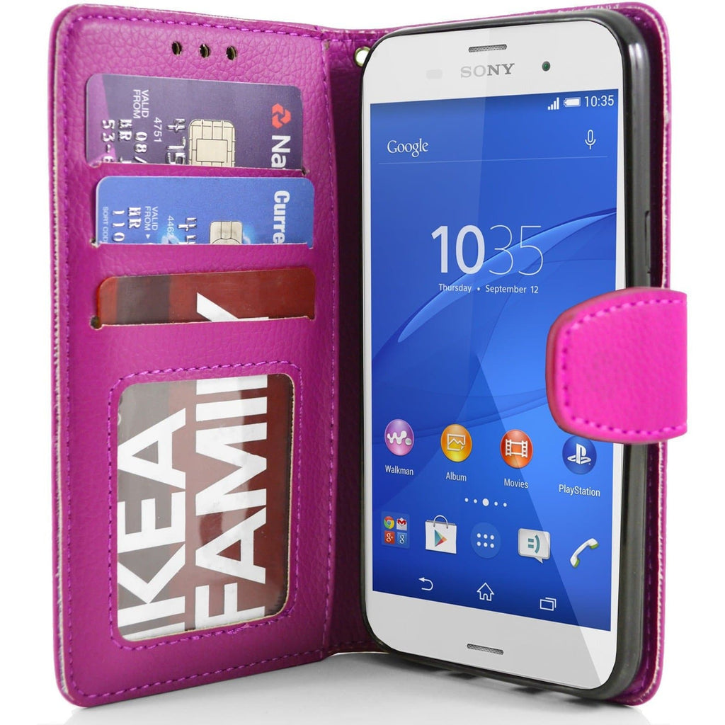 Sony Xperia Z3 PU Leather Wallet Case - Pink