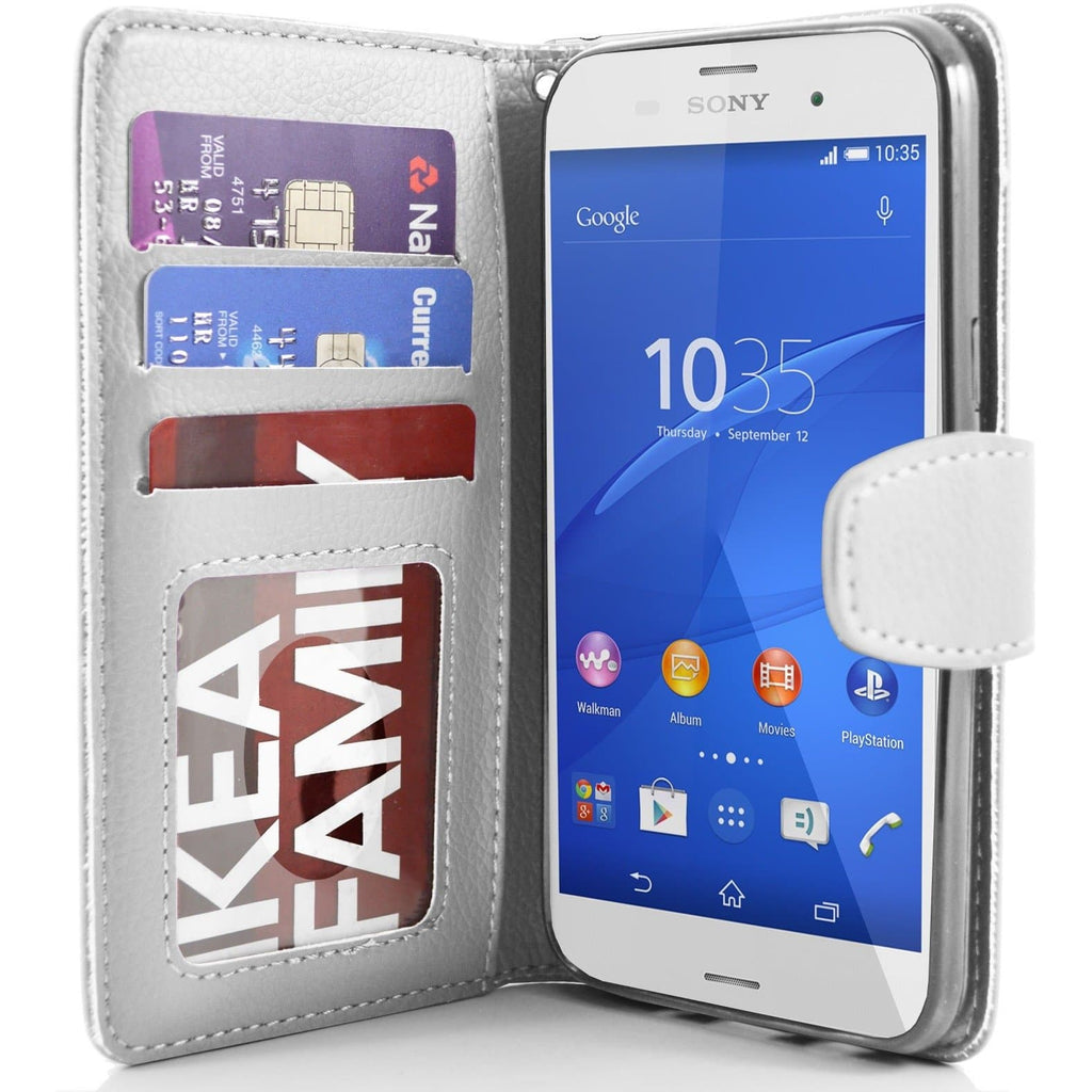 Sony Xperia Z3 PU Leather Wallet Case - White