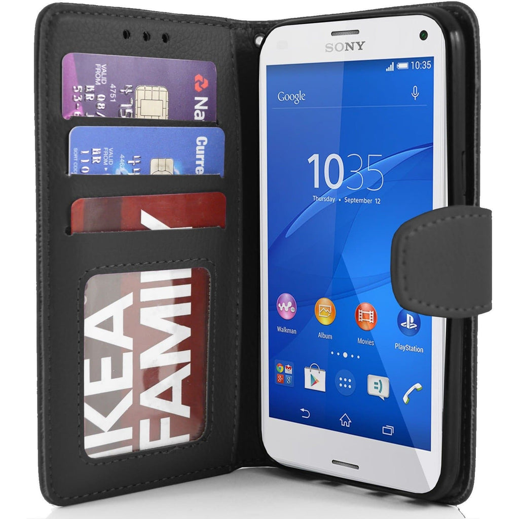 Sony Xperia Z3 Compact PU Leather Wallet Case - Black