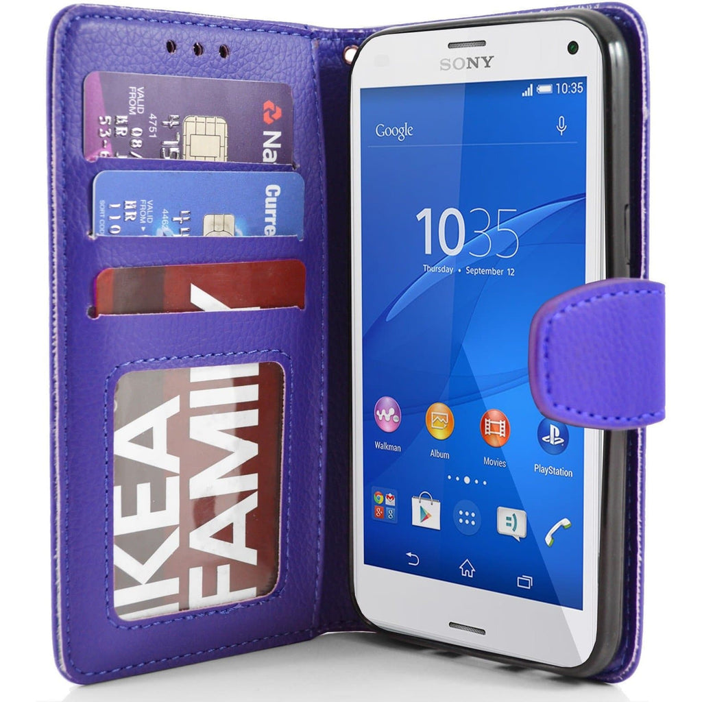 Sony Xperia Z3 Compact PU Leather Wallet Case - Blue