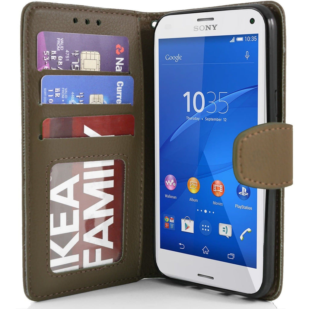 Sony Xperia Z3 Compact PU Leather Wallet Case - Brown