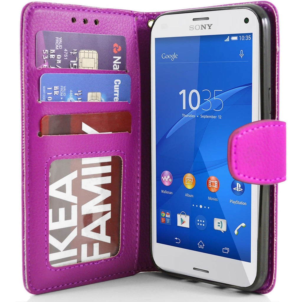 Sony Xperia Z3 Compact PU Leather Wallet Case - Pink