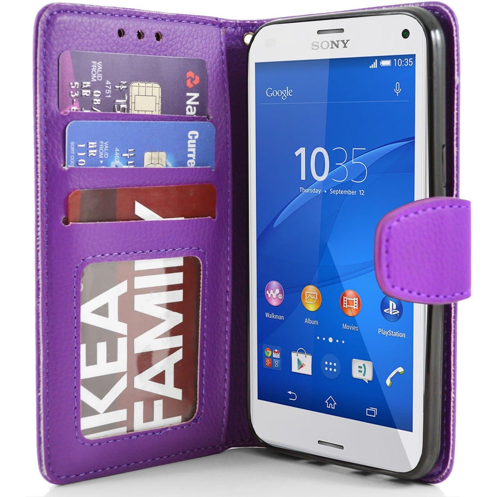 Sony Xperia Z3 Compact PU Leather Wallet Case - Purple