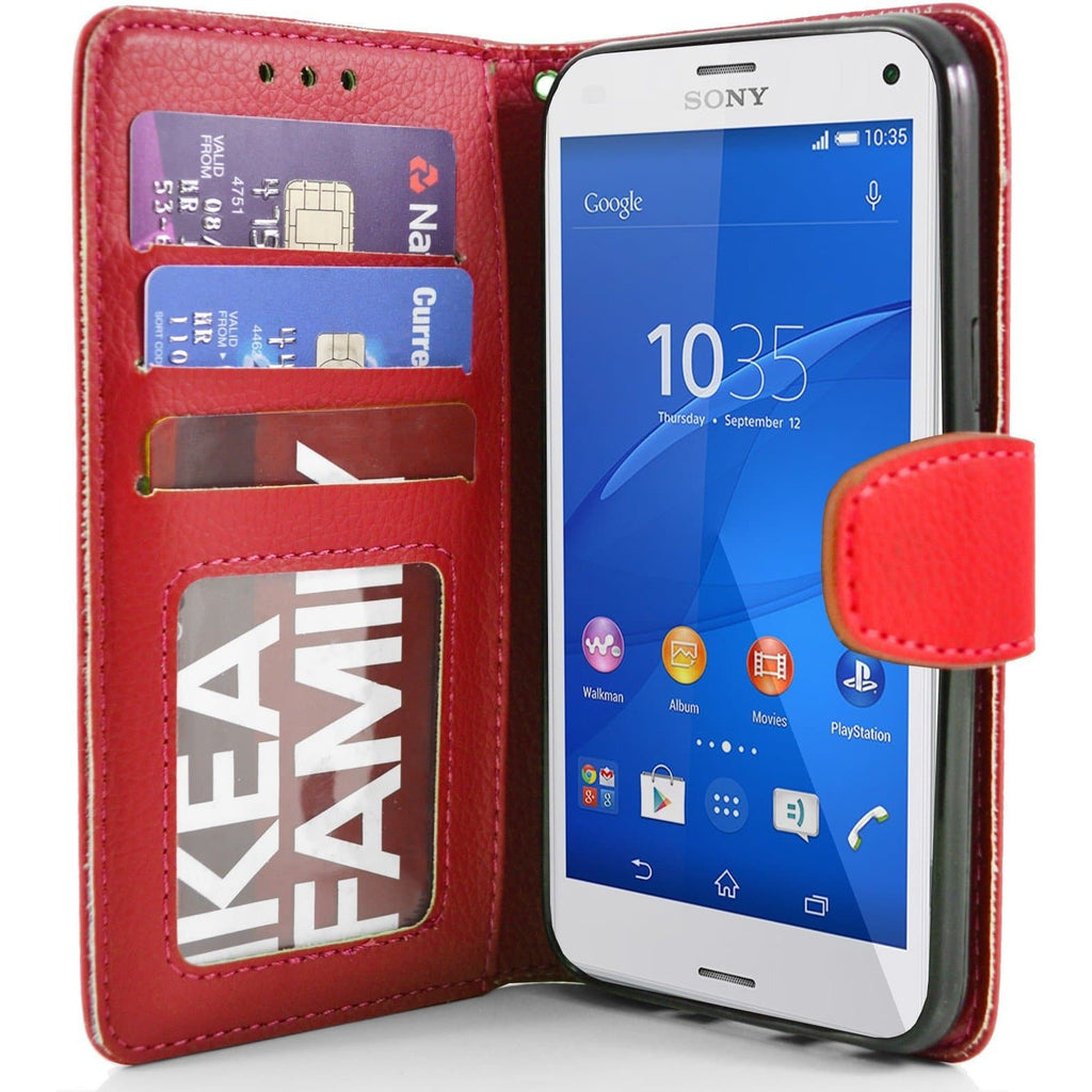 Sony Xperia Z3 Compact PU Leather Wallet Case - Red