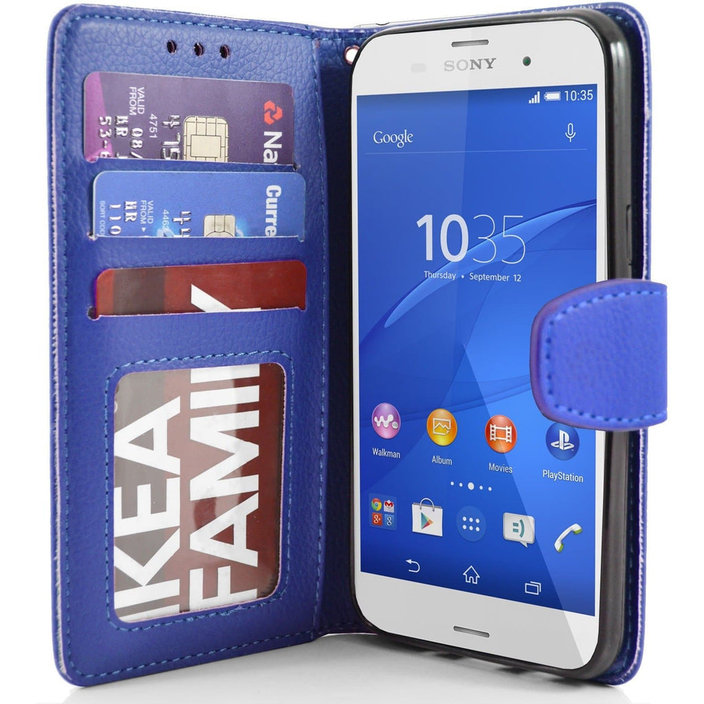 Sony Xperia Z3 PU Leather Wallet Case - Blue