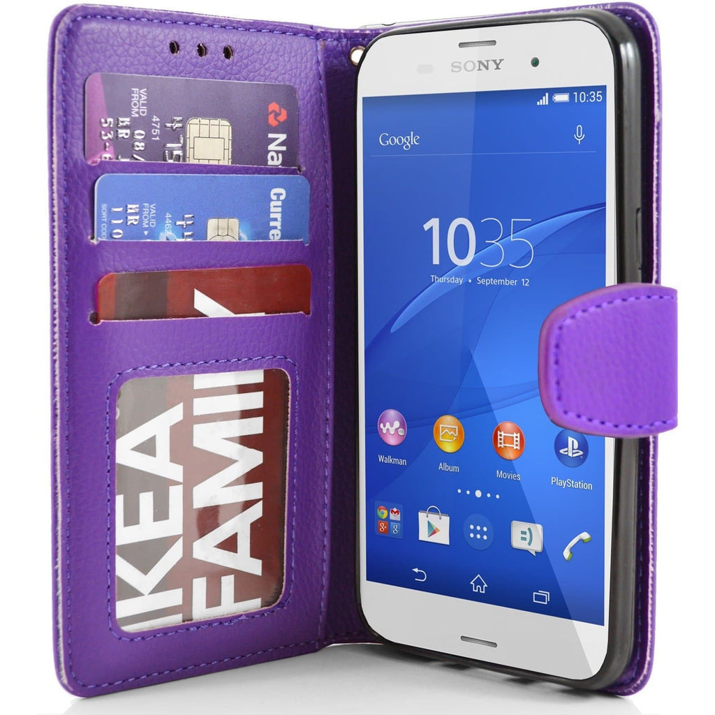 Sony Xperia Z3 PU Leather Wallet Case - Purple