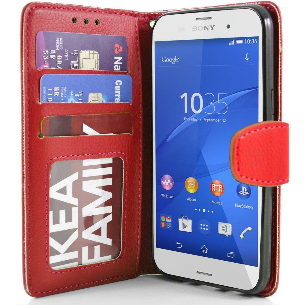 Sony Xperia Z3 PU Leather Wallet Case - Red